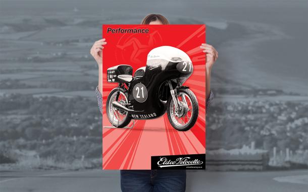 Eldee Velocette, front three-quarter, red, Isle of Man Classic TT, commemorative poster, A2, Performance, portrait, mock-up