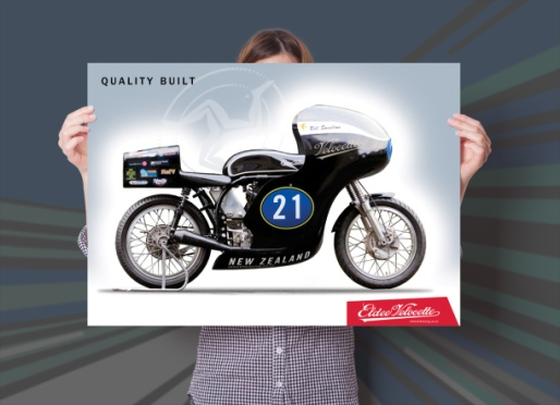 Eldee Velocette, side elevation, poster, A2, landscape, Quality built
