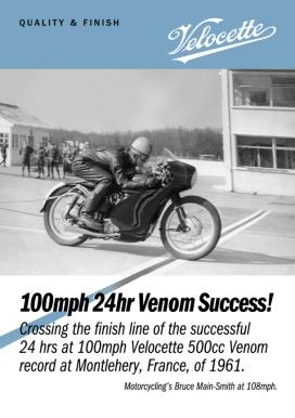 Velocette, Venom, flyer, A4, 100mph, 24hr, record, 1961,