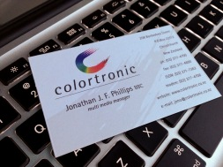 The graphic elements of Colortronic's new logo really come into play when expressed on their business cards, stationery and forms.