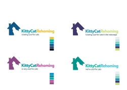 """With no typographic contrast between 'KittyCat"""" and 'Rehoming', an appealing colour combination is the only way to separate the logo words for easy reading."""