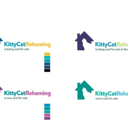 "With no typographic contrast between 'KittyCat"" and 'Rehoming', an appealing colour combination is the only way to separate the logo words for easy reading."