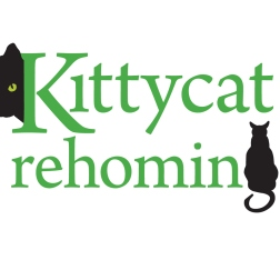 A word mark concept that combines two pictures to replace a letter in the Kittycat rehoming name, creates a stylish compact logo with two focal points that the eye rests on and moves between.