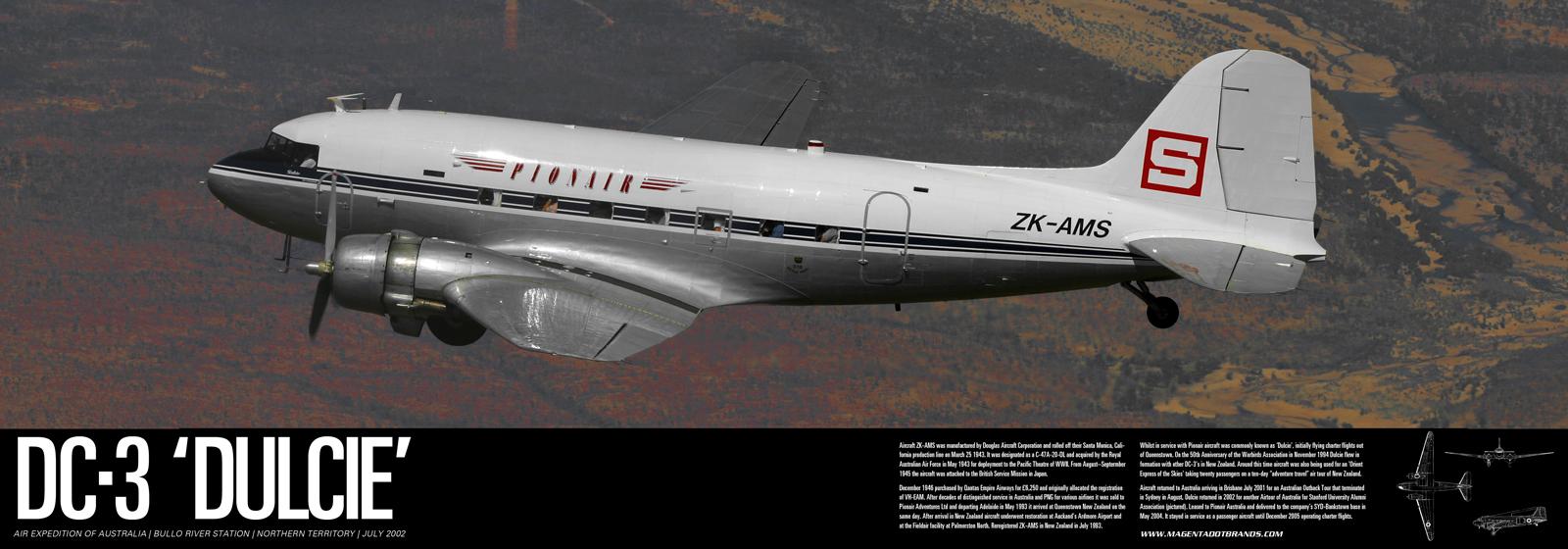A rare air-to-air shot of Pionair DC3 'Dulcie'