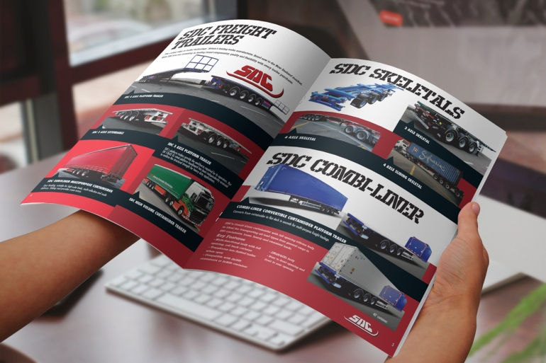 Detail of MTC Equipment 2019 Catalogue SDC freight trailers and Skeletal trailers spread hand-held
