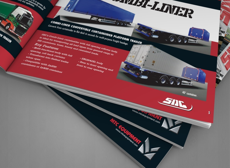 Detail of MTC Equipment 2019 Catalogue SDC Freight Trailers, Skeletals and Combiliner spread.