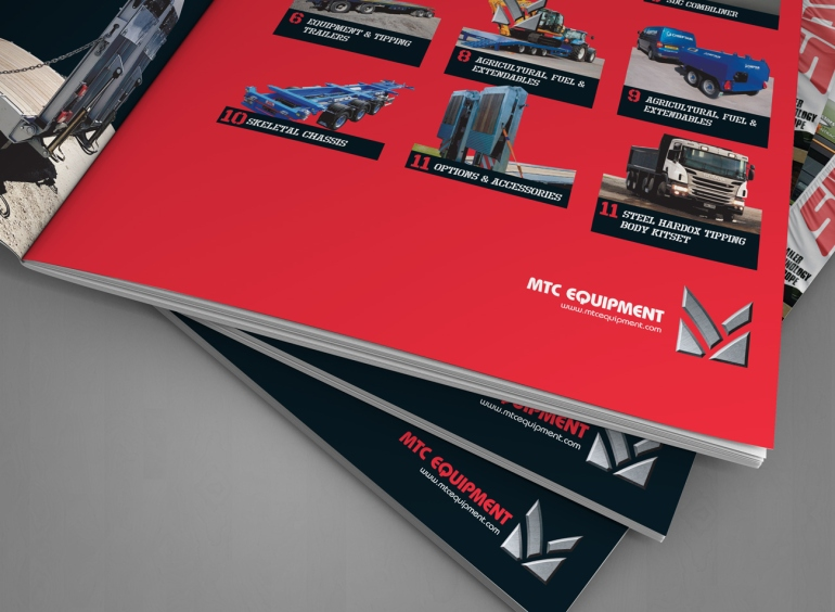 Detail of MTC Equipment 2019 Catalogue inside front cover contents spread.