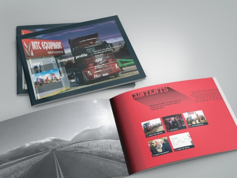 MTC Equipment company profile document front cover and inside cover spread.