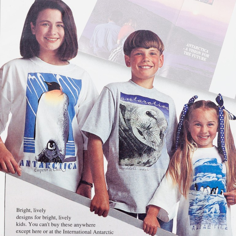 Antarctic Centre Emperor and chick, Weddell seal and Adelies on ice T-shirt designs for kids