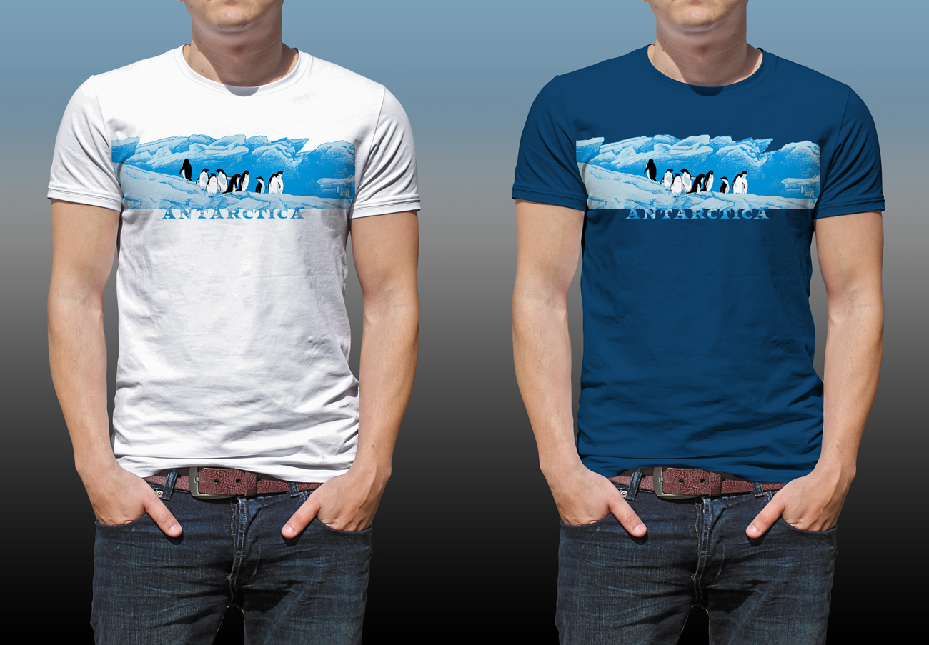 Antarctic Centre Adelies on ice Antarctica design on a white and a dark blue T-shirt