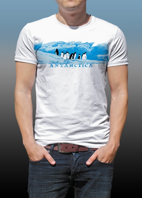 Antarctic Centre Adelies on ice design on a white T-shirt