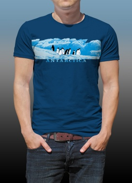 Antarctic Centre Adelies on ice Antarctica design on a dark blue T-shirt
