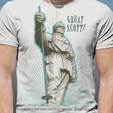 """Detail of front print Antarctic Centre """"Great Scott!"""" design hand screenprinted on a natural cotton T-shirt"""