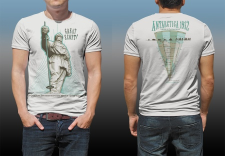 "Antarctic Centre ""Great Scott!"", Scott of the Antarctic pair of screen prints front and back of a natural cotton T-shirt"