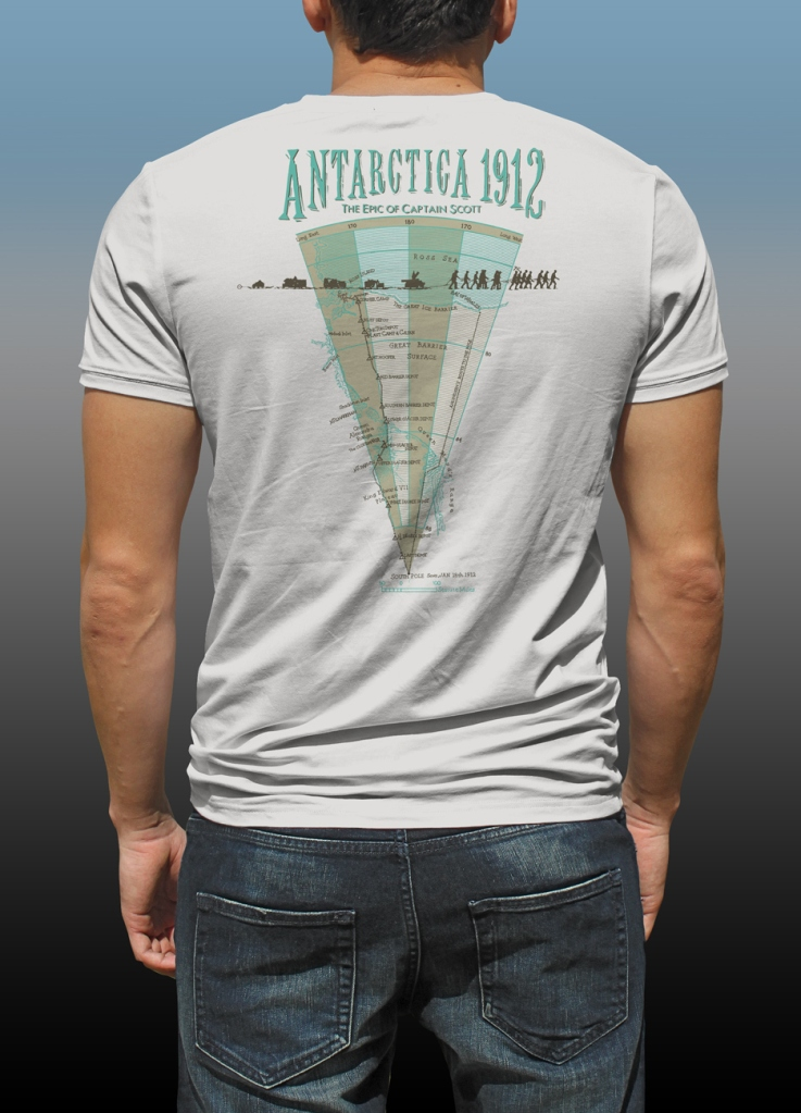 "Back map of Antarctic Centre ""Great Scott!"" design hand screenprinted on a natural cotton T-shirt"
