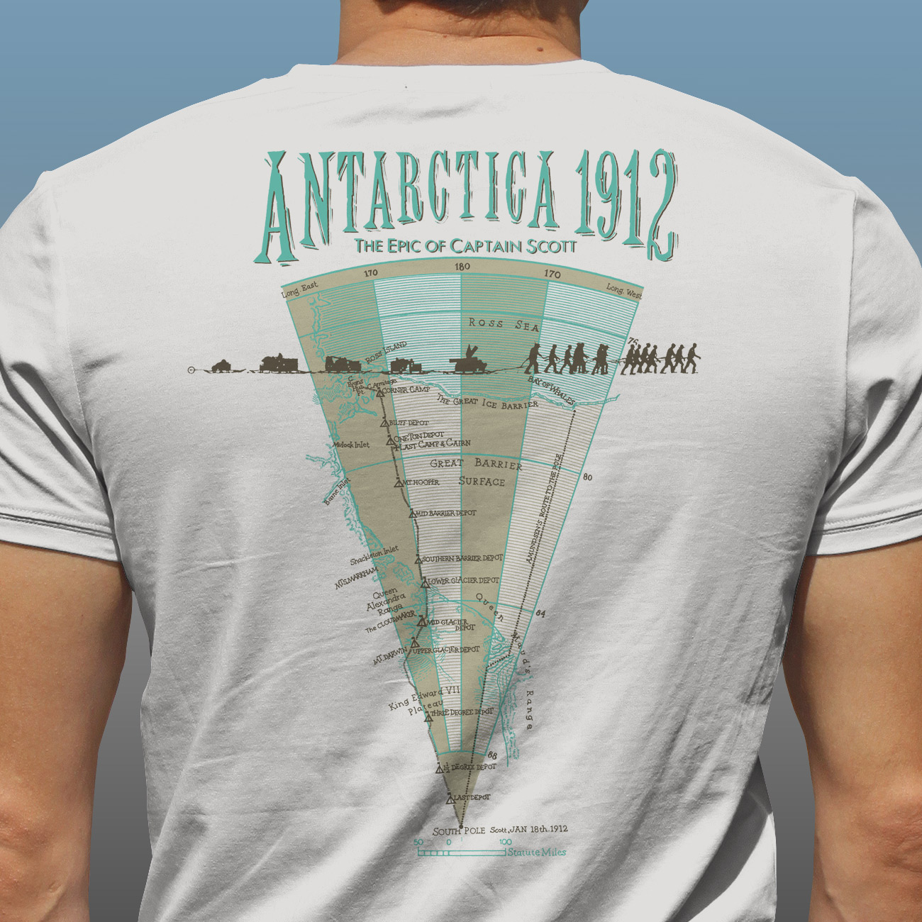 "Detail of Antarctic Centre ""Antarctica 1912, The Epic of Captain Scott"" expedition map screen printed on a natural cotton T-shirt"