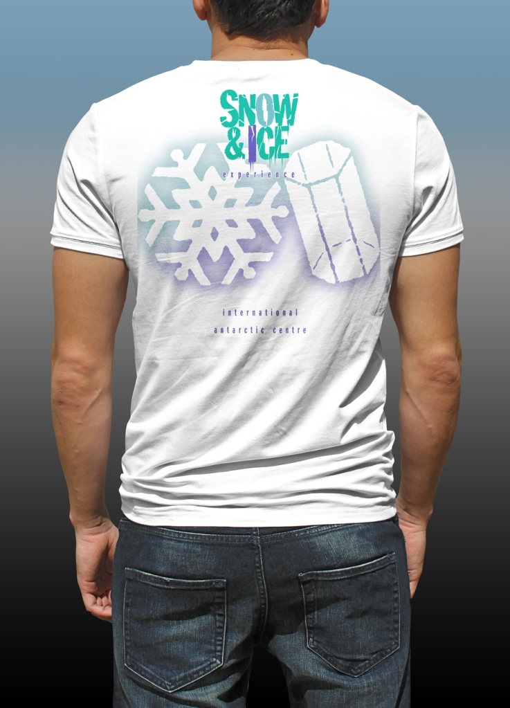 Back of Antarctic Centre Snow & Ice experience design on back of a white T-shirt