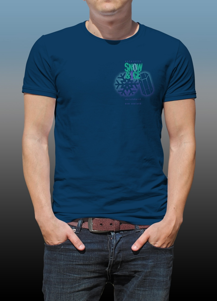 Front of Antarctic Centre Snow & Ice experience design on a dark blue T-shirt