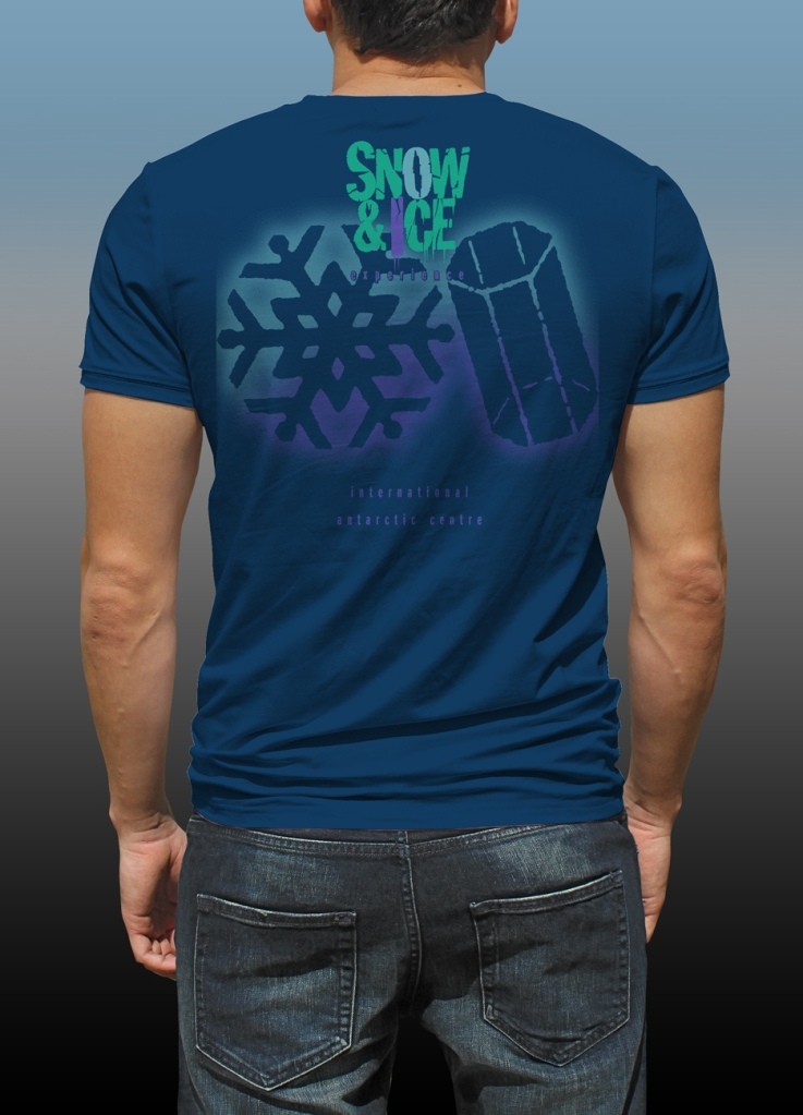 Back of Antarctic Centre Snow & Ice experience design on back of a dark blue T-shirt