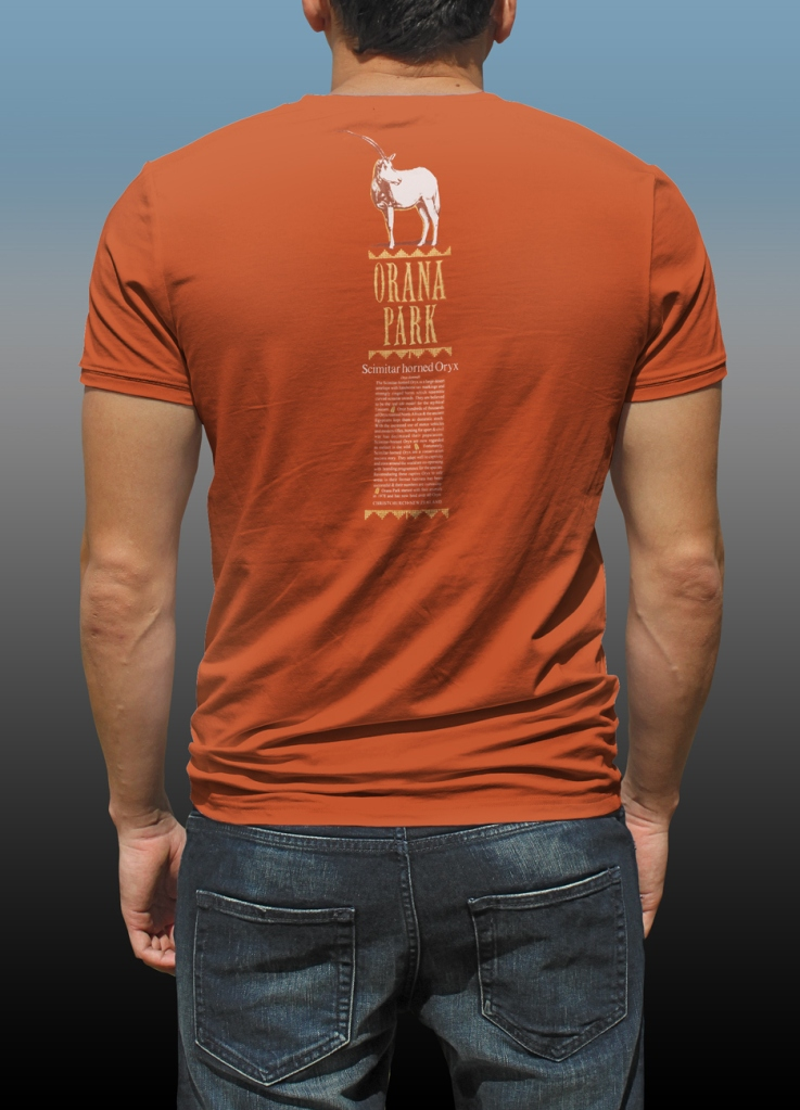 Orana Park Scimitar horned Oryx complementary screen print on back of a burnt orange T-shirt