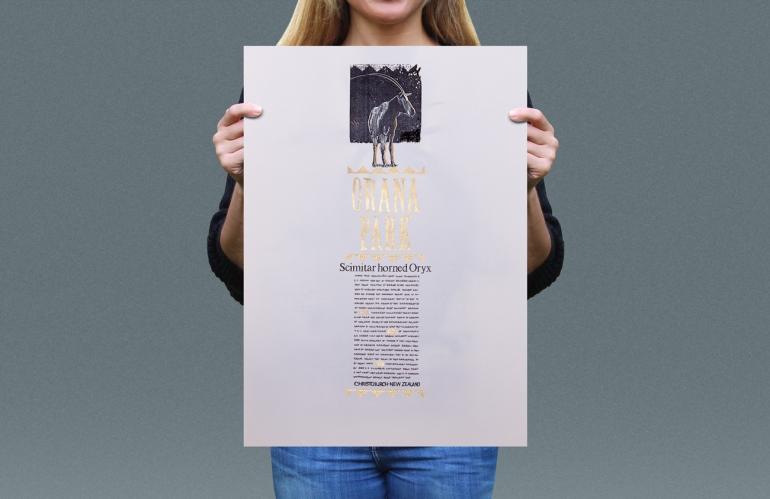 Visual presentation of Scimitar horned Oryx T-shirt back