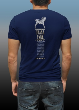 Orana Park Chapman's Zebra complementary screen print on back of a navy T-shirt