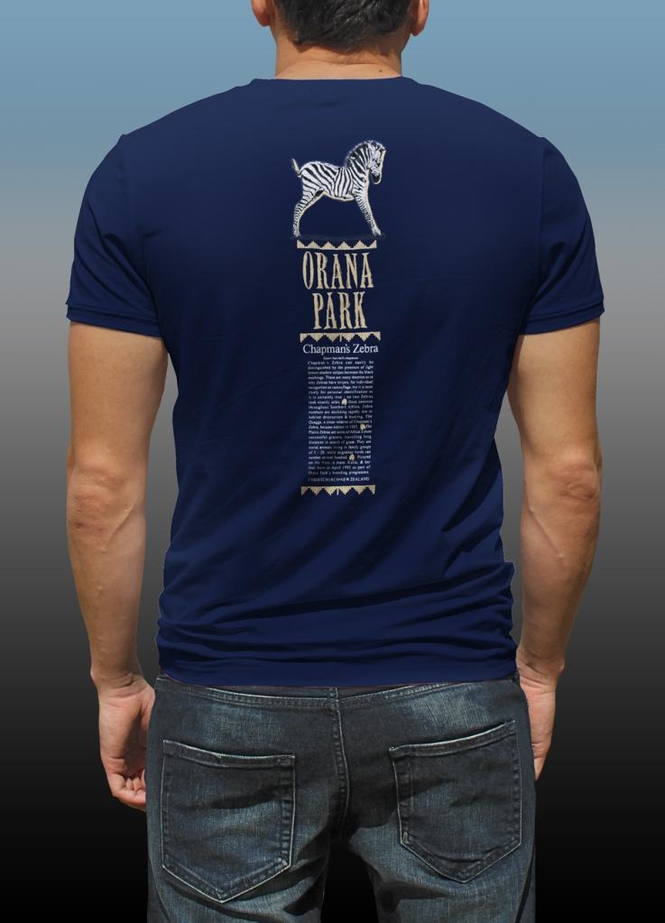Orana Park Chapman's Zebra complementary screen print on back of a navy T-shirt