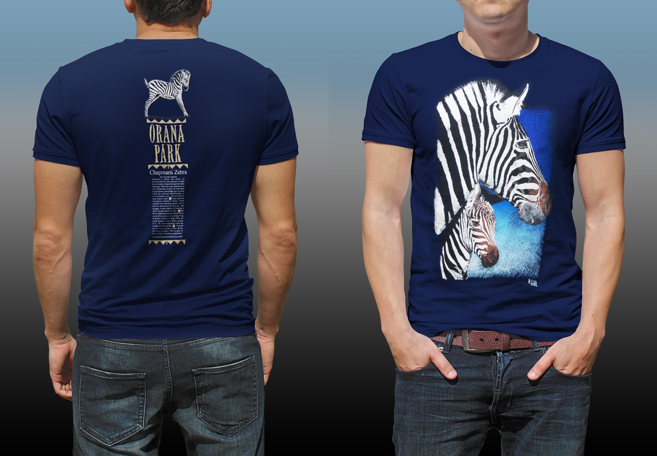 Orana Park Chapman's Zebra screen prints on front and back of a navy T-shirt
