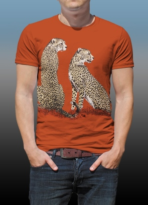 Orana Park Cheetah screen print on a burnt orange T-shirt