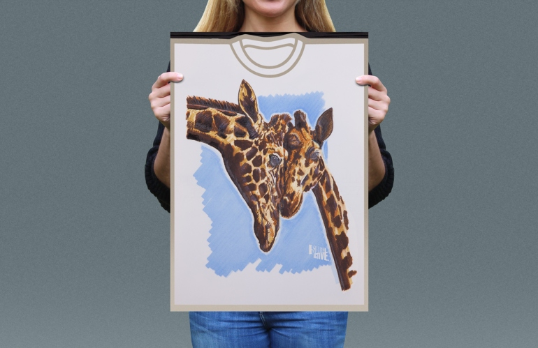 Visual presentation of Rothschild's Giraffe T-shirt front