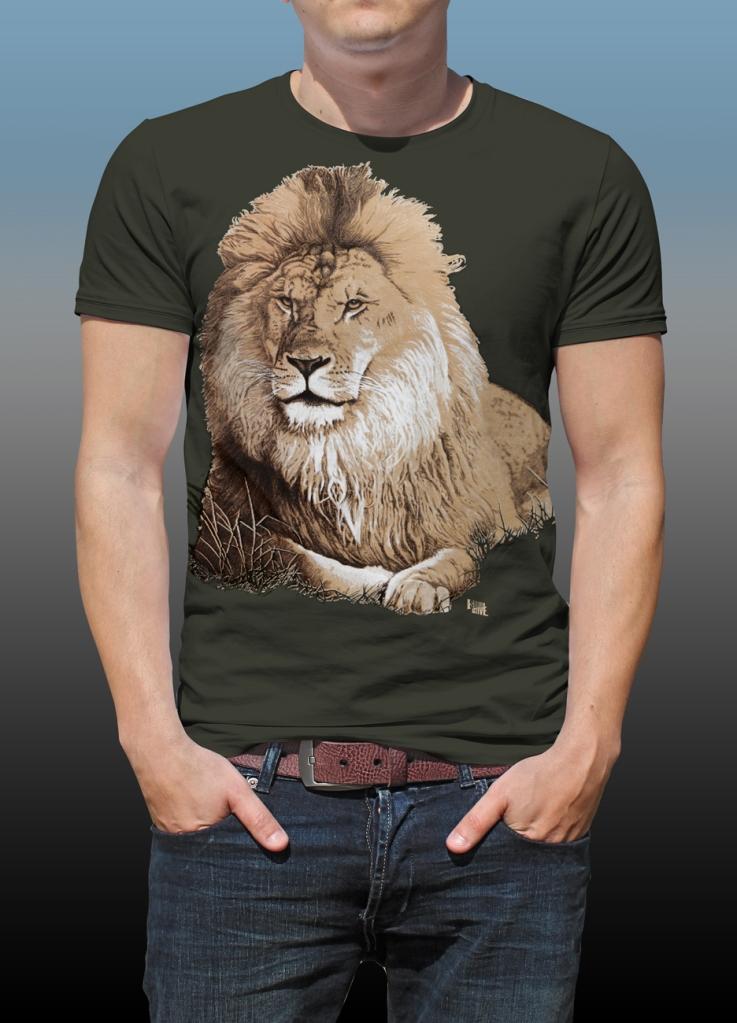 Orana Park Lion screen print on a dark green T-shirt