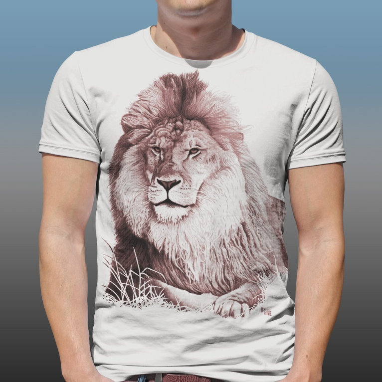 Detail of Orana Park Lion mono colour screen print on a natural cotton T-shirt