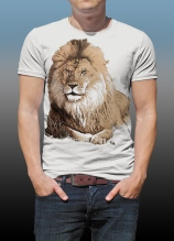 Orana Park Lion screen print on a natural cotton T-shirt