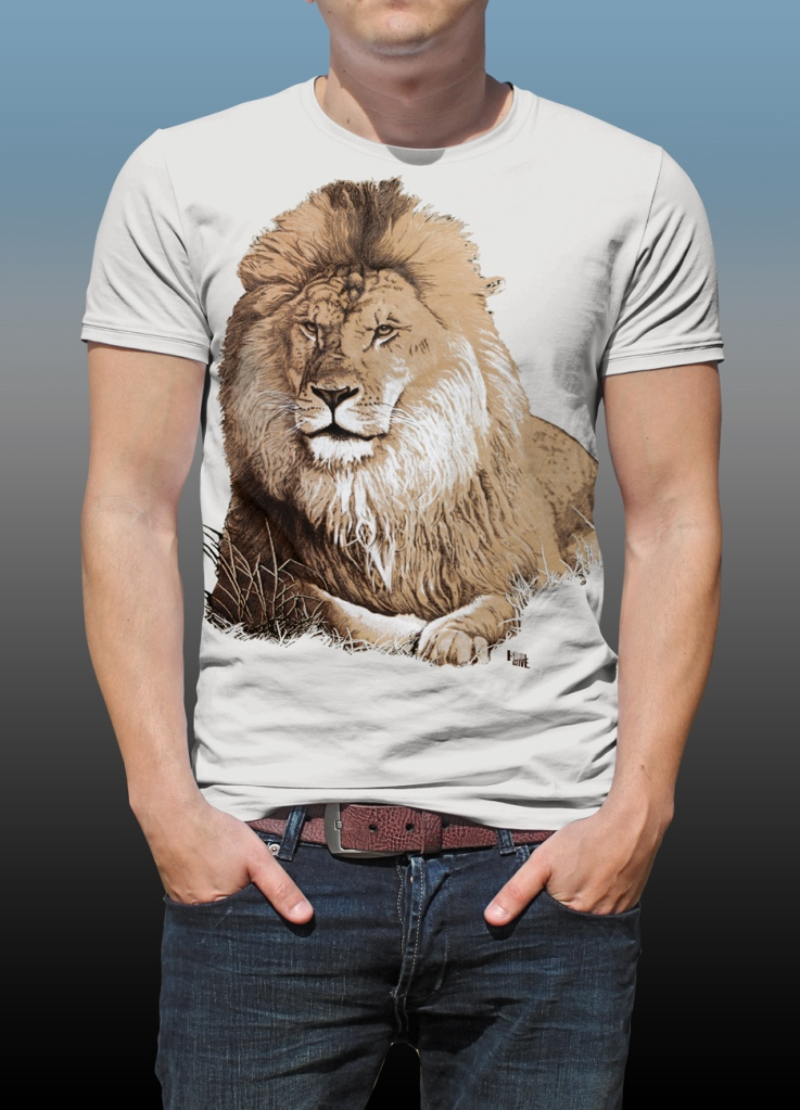 Orana Park Lion screen print on a natural cotton T-shirt