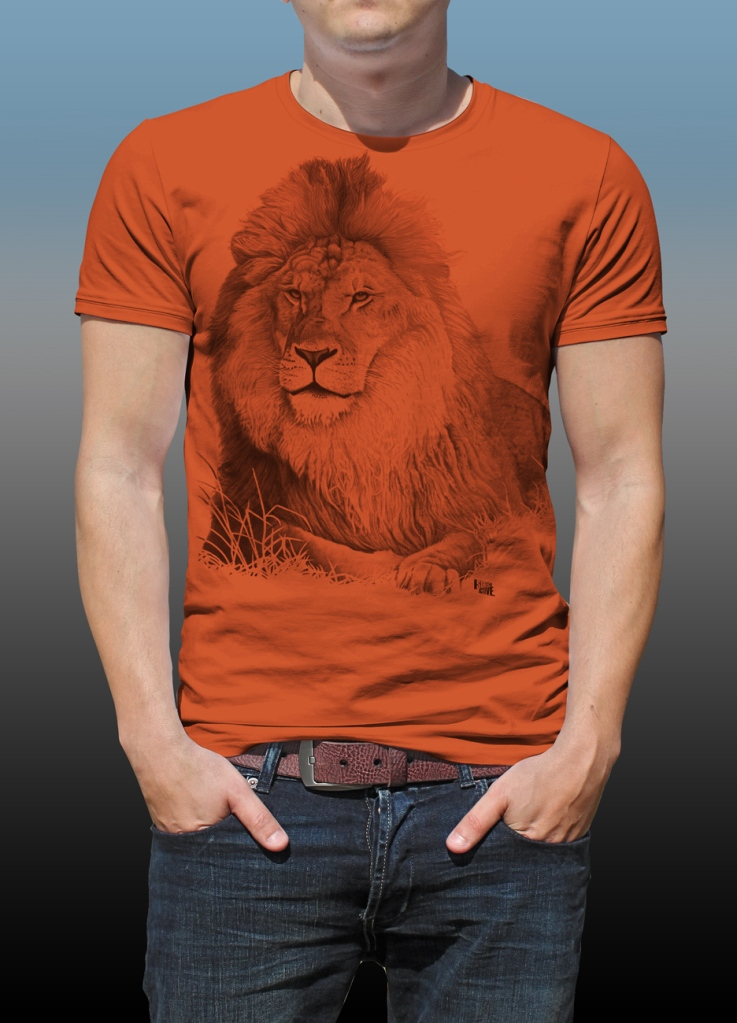 Detail of Orana Park Lion mono colour screen print on a burnt orange T-shirt