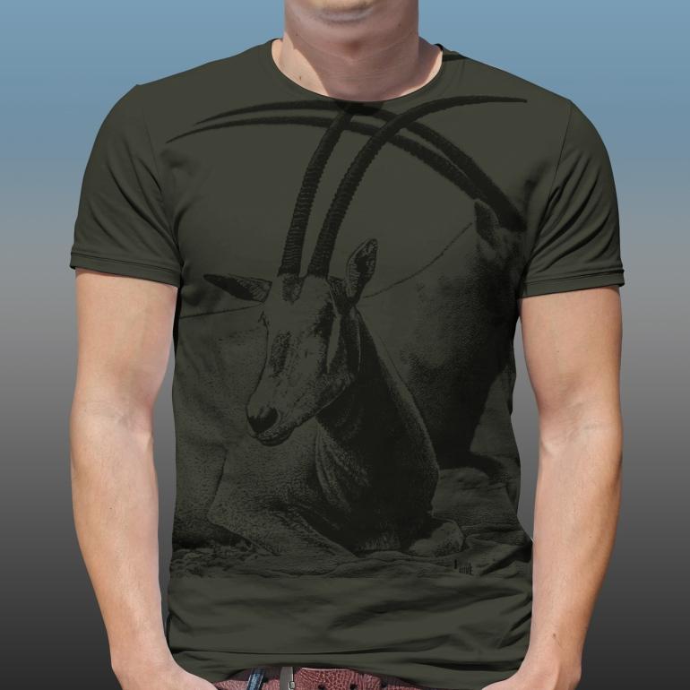 Detail of Orana Park Scimitar horned Oryx mono colour screen print on a dark green T-shirt