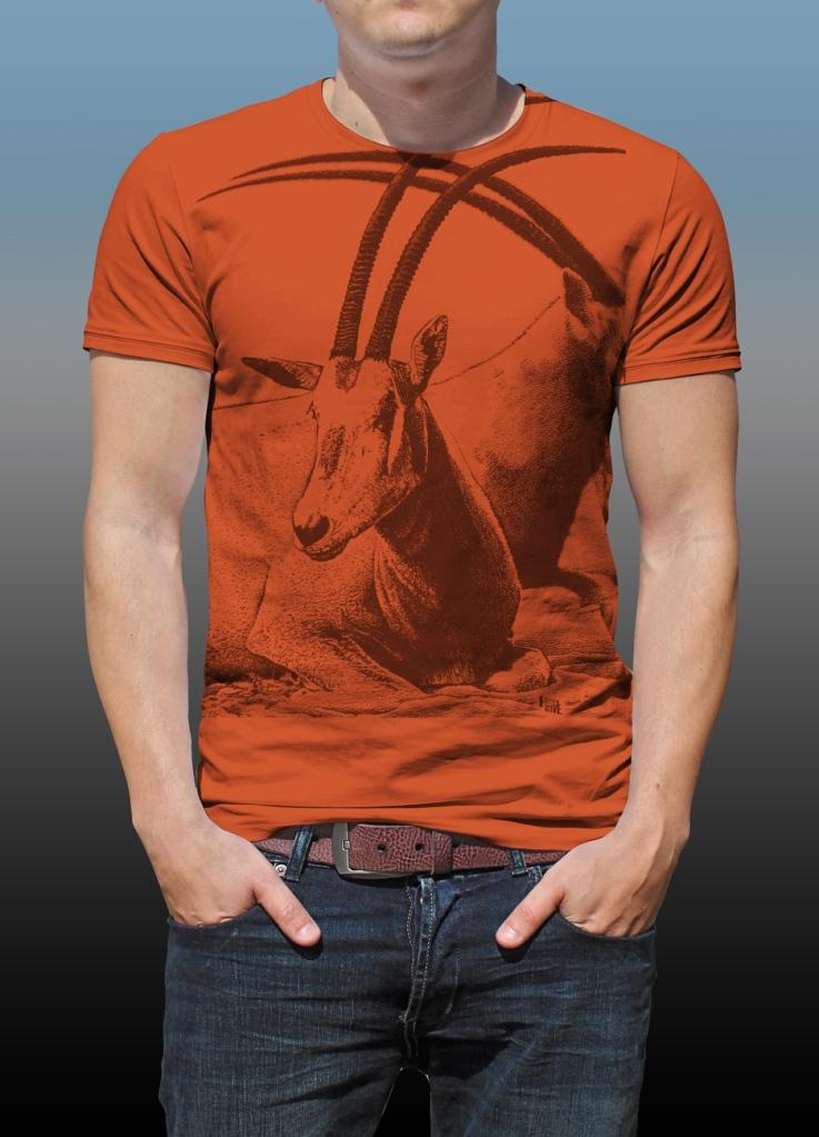 Detail of Orana Park Scimitar horned Oryx mono colour screen print on a burnt orange T-shirt