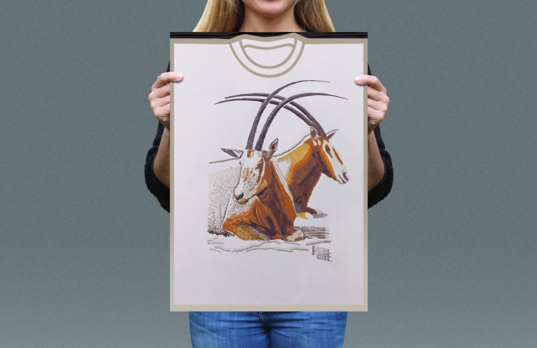 Visual presentation of Scimitar Horned Oryx T-shirt front