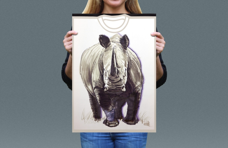 Visual presentation of White Rhino T-shirt front