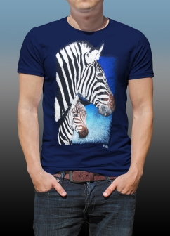 Orana Park Chapman's Zebra screen print on a navy T-shirt