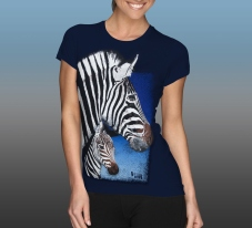 Orana Park Chapman's Zebra screen print on a women's navy T-shirt