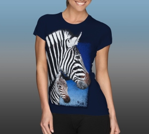 Orana Park Chapman's Zebra screen print on a women's navy T-shirt