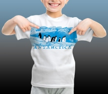 Antarctic Centre Adelies on ice Antarctica design for kids on a white T-shirt
