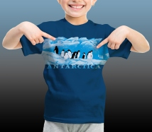 Antarctic Centre Adelies on ice Antarctica design for kids on a dark blue T-shirt
