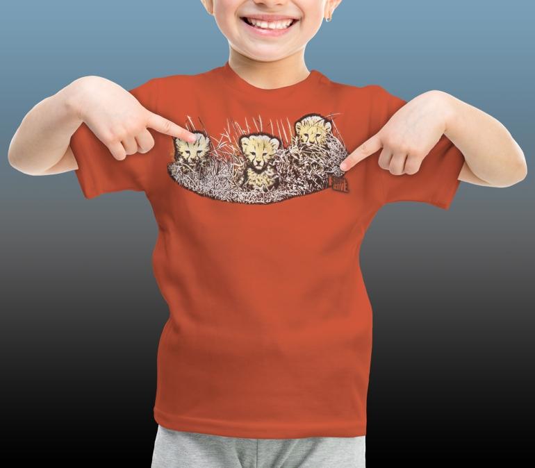 Orana Park kids' Cheetah screen print on a burnt orange T-shirt