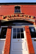 Pomeroy's Old Brewery Inn front door and signage.