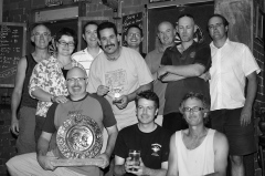 "The Pomeroy's Press. Pom's ""Locals like…"" profile photo. Darts tournament crew."