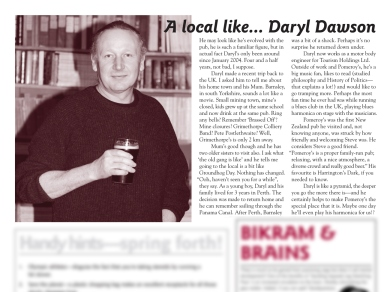 "The Pomeroy's Press. Pom's ""Locals like…"" profile article. Daryl Dawson."