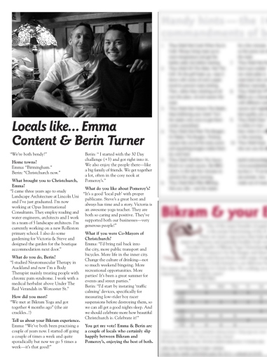 "The Pomeroy's Press. Pom's ""Locals like…"" profile article. Emma Content and Berin Turner."