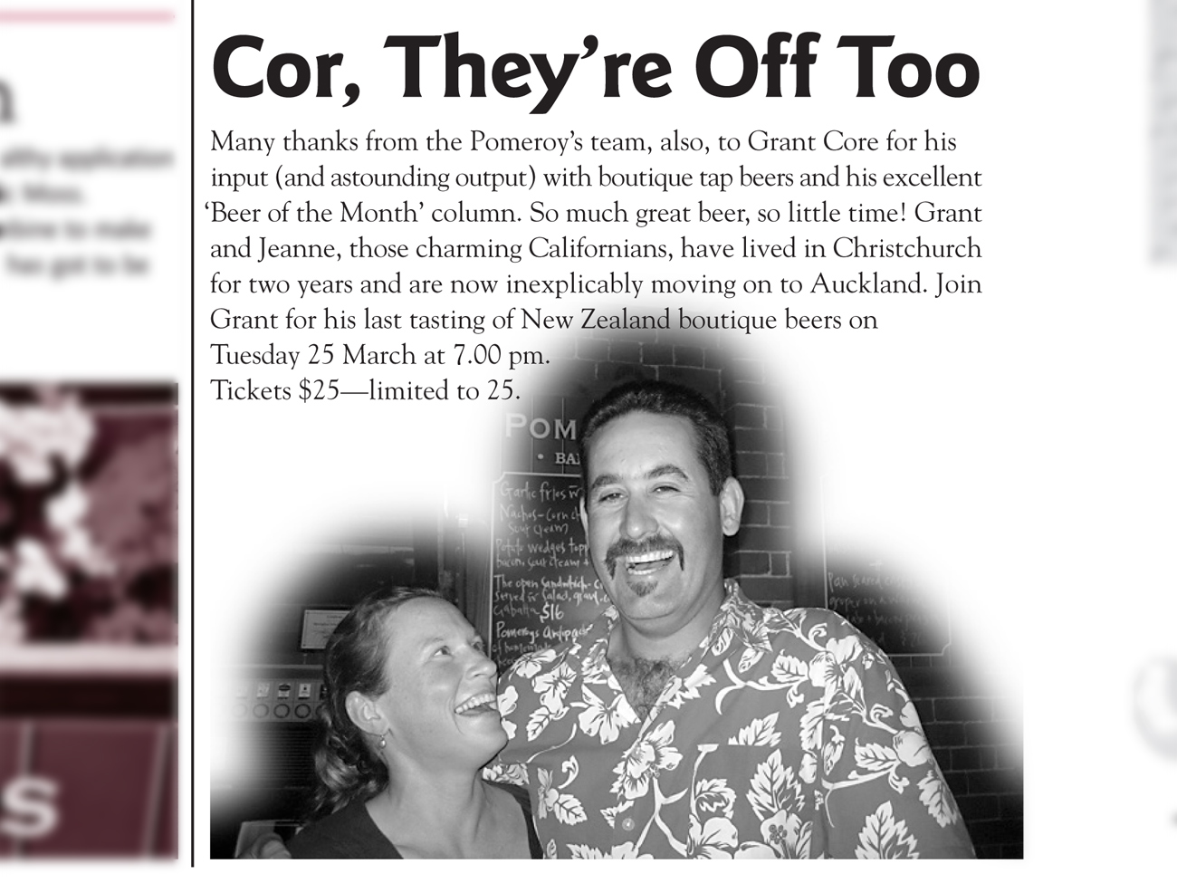 "The Pomeroy's Press. Pom's ""Locals like…"" profile article. Grant and Jeanne Core."